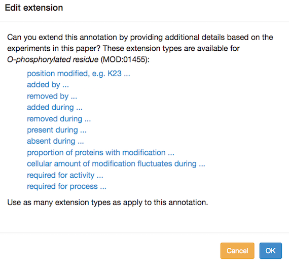 Modification annotation extension options